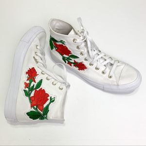 CONVERSE Embroidered Red Rose Hi Top White Sneaker